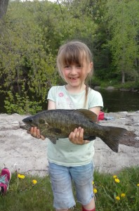 Grace Anne with a nice river Smallmouth